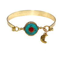 Other Areas Turquoise and Coral Moon Cuff