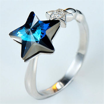Womens Girls White Gold Ring Adjustment Hight Quality Stars Crystal Ring Love Jewelry Best Christmas Gift One Size Rings-92