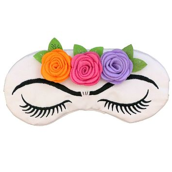 Frida Kahlo Roses and Lashes Sleep Mask in Satin