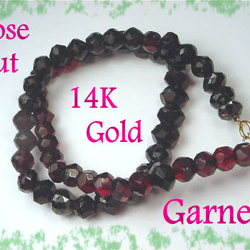 14K Gold ~ Victorian Rose Cut Faceted Bohemian Garnet Bead Necklace - 52 Beads Over 200 Cts