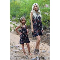 2018 Spring Adorable Kids Navy Ruffle Flower Mommy & Me Matching Dress