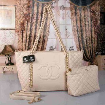 CHANEL Women Fashion Shopping Leather Satchel Shoulder Bag Handbag Two Piece Set