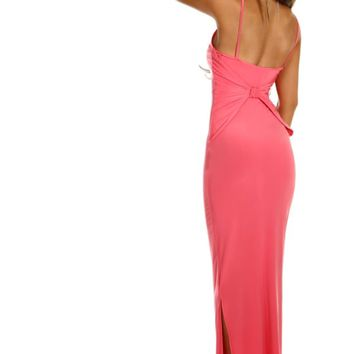 Memory Lane Coral Slinky Bow Back Maxi Dress
