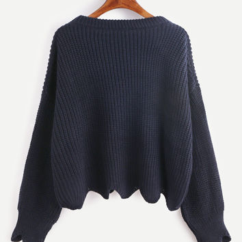 Navy Scallop Hem Casual Sweater