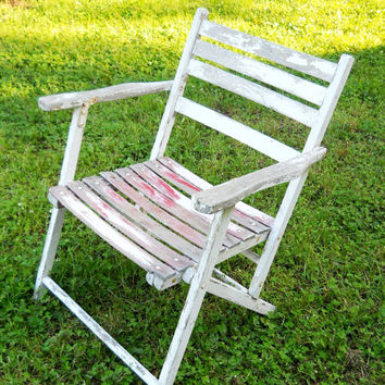 Vintage 1930s Cottage French Country Cafe Terrace Folding Oak Teak Wood Beach Bistro Chair Pub General Store Patio Modern Farmhouse Cottage