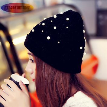 New Fashion Women Winter Warm Beanie Pearl Wool Knitting Hat Cap winter hat for women girl 's hat knitted beanies cap