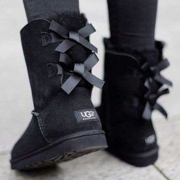 Kalete UGG Fashion Women Men Simple Winter Two Bow Boots Shoes Black I