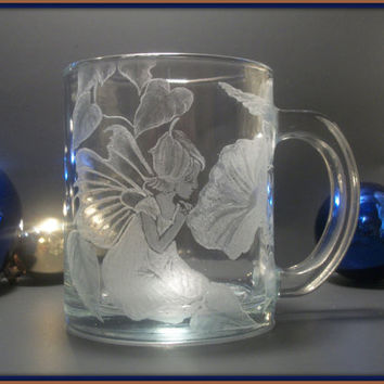 Fairy COFFEE MUG hand engraved glass mug by GlassGoddessNgraving