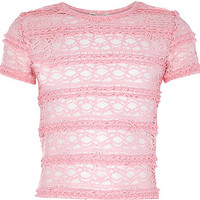 River Island Girls pink fitted lace top