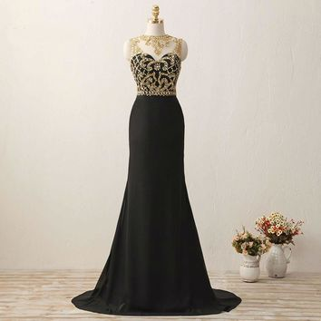 Gorgeous Mermaid Gold Beaded Black long dresses