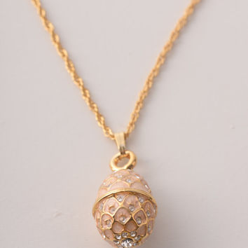 Baby Pink Egg Pendant Necklace Faberge Styled Handmade by Keren Kopal Enamel Painted Decorated with Swarovski Crystals