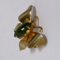 Vintage Butterfly Jade Brooch Pin