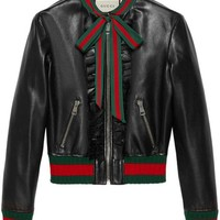DCCKIN3 Gucci Ruffle Leather Bomber Jacket