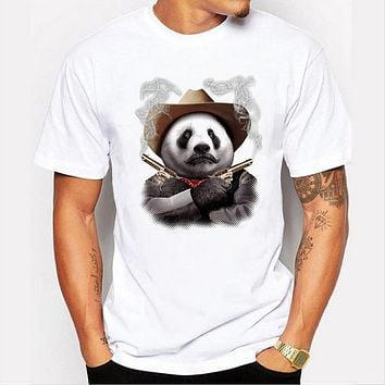Men's Casual Art Style Cute Panda cowboy Print T-Shirt Men Summer Hipster Hip hop Tees