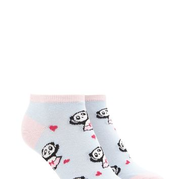 Panda Heart Print Ankle Socks