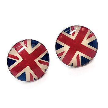 ON SALE - British Flag Enamel Button Stud Earrings