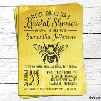 Bridal Shower Invite // Personalized Printable Bumble Bee Bridal Shower Invitation // Bee Invite // Bumble Bee Invite