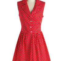 ModCloth Vintage Inspired Short Sleeveless Shirt Dress Taking on Tulsa Dress in Dotty