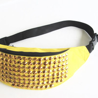 Studded Fanny Pack/Tribal Fanny Pack/Yellow Fanny Pack/ Hip Bag/ Festival Bag/Bum Bag.