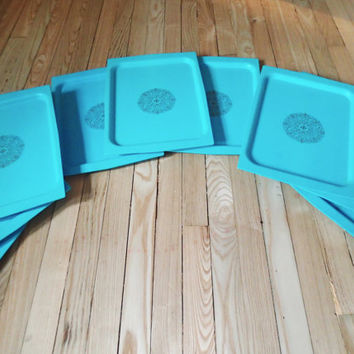 Turquoise serving trays, set of 8, gold medallion, plastic wood grain texture