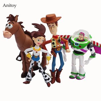 4pcs/set Anime Toy Story 3 Buzz Lightyear Woody Jessie Action Figure Collectible 14.5-18cm
