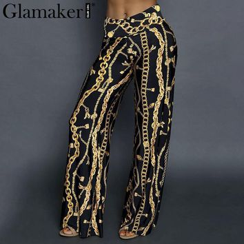 Glamaker wide leg casual pants Women chain print loose high waist pants capris Summer party club trousers female pants bottom