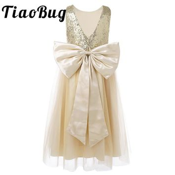 2017 Little Flower Girls Dresses for Weddings Baby Formal Party Sequined Bow Dress Kids Prom First Communion Tulle Dresses