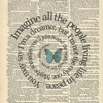 Spiral Lyrics to Imagine On Vintage Dictionary by TexasGirlDesigns