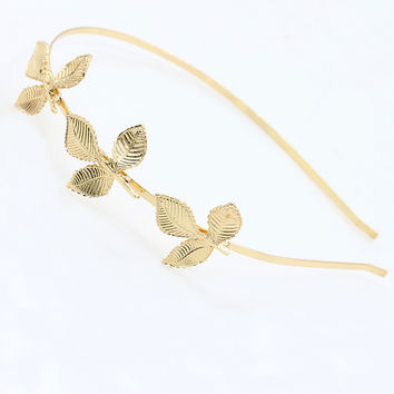 Gold Fashion Leaf Stylish Korean Accessories = 4806940228