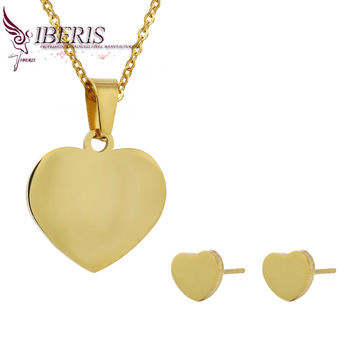 Iberis female fashion boutique Sets Simple heart-shaped earrings and necklace set High-quality stainless steel jewelry set