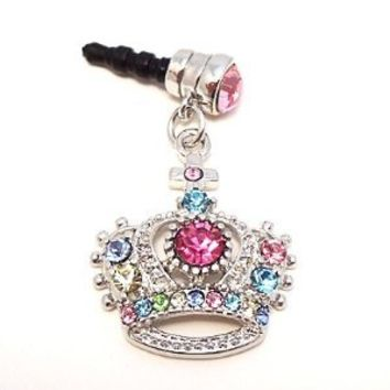 Amazon.com: Headphone Plug Crown Charm for Apple iPhones, iPad, iPod touch, Multicolored Rhinestone Gems: Cell Phones & Accessories