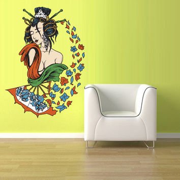Full Color Wall Decal Mural Sticker Art Geisha Asian Japan Japanese Girl Woman Flowers (col178)