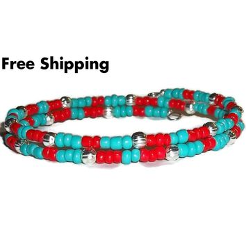 Turquoise & Red Glass Beaded Artisan Crafted Stackable Wrap Bracelet (S-L)