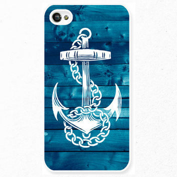 iPhone 5 4 Anchor Case - Nautical Sailor Sea Wood  - Samsung Galaxy s3 s4, ipod touch - Blue white -NC