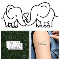 Elephant Couple - Temporary Tattoo (Set of 2)