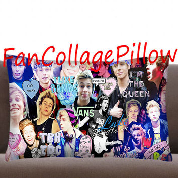 "Custom Pillow Cases Luke Hemmings collage art ,available size 18"" x 18"", 16"" x 24"", 20"" x 30"" one side and two side cover"