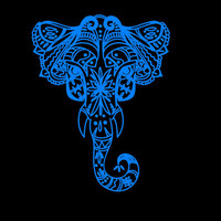 Elephant Intricate Elephant Vinyl Decal car truck auto vehicle window custom sticker Laptop computer Fancy decal Symbol of luck decal