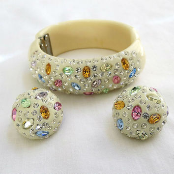 Vintage Cream and Multi Color Rhinestones Weiss Clamper Bracelet and Earrings Demi Parure Set