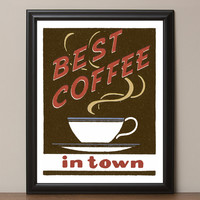 "12"" x 16"" Retro ""Best Coffee in Town"" Vintage Look Poster"