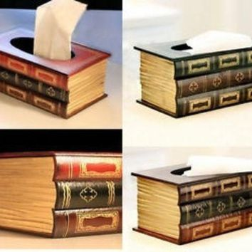 DCCKIX3 Multicolor Vintage Book Tissue Box Cover Paper Holder Home Decor Gift #mgsu = 1946460740
