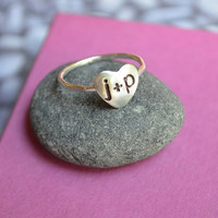 Personalized Heart Ring in Sterling Silver by KerriAnnDesigns