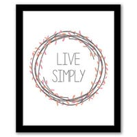 Live Simply, Pink and Orange, Wall Art, Home Decor, Quote Art Print, Inspirational Quote, Printable Art, House Warming, INSTANT DOWNLOAD