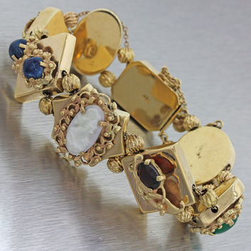 1900s Antique Victorian 14k Solid Yellow Gold Mixed Gems Slide Charm Bracelet