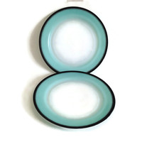 Vintage Hazel Atlas, Ovide Platonite, Dinner Plates, Turquoise on White with Black Trim, Opaque Glass, Mid Century, 1950's, Set of 2
