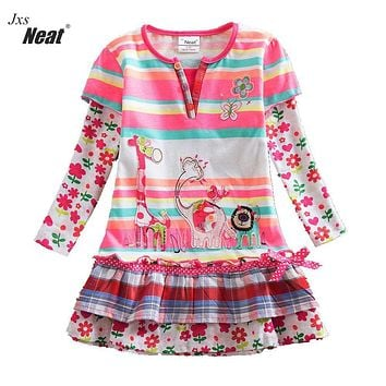 NEAT Autumn baby girl clothes kids long sleeves dress fashion brand Flowers Princess party Cake dress children clothing L323
