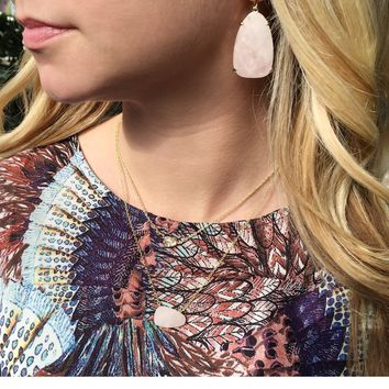 Kristina Drop Earrings in Rose Quartz - Kendra Scott Jewelry