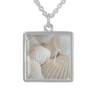 White Beach Shells Summer Tropical Exotic Sterling Silver Necklace