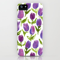 Tulips iPhone Case by Leah Reena Goren