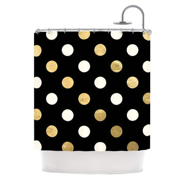 KESS Original Golden Dots Black Gold Shower Curtain