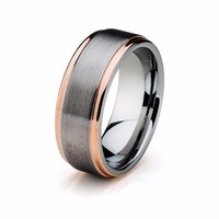 Tungsten Wedding Band Rose Gold Mens Wedding Ring Anniversary Band Grooms Ring Man Engagement Band Handmade His Hers Custom 8mm 18k Rose Gold Ring